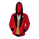 Pretty Boys' Long Sleeve Zipper Front Anime 3D Cosplay Print Colorblock Relaxed Hoodie in Red