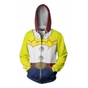 Funny Popular Boys' Long Sleeve Drawstring Zipper Front 3D Cosplay Belt Print Color Block Hoodie in Yellow