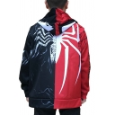 Cool Boys Long Sleeve Zipper Front VENOM SPIDERMAN Letter Spider Graphic Color Block Relaxed Cosplay Hoodie in Black and Red