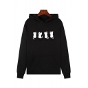 Pop Girls Long Sleeve Letter UM DEUX TRIOS CAT Cat Graphic Kangaroo Pocket Loose Hoodie