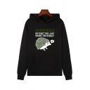 Korean Girls Long Sleeve Letter HEDGEHOGS Graphic Relaxed Fit Hoodie with Pocket