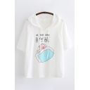 Basic Summer Short Sleeve Drawstring Chinese Letter Pig Graphic Relaxed Fit Hoodie for Women
