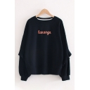 Popular Stylish Womens Long Sleeve Crew Neck Letter LANUNGA Printed Ruffled Trim Oversize Pullover Sweatshirt