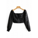 Sexy Pretty Womens Long Sleeve Sweetheart Neck Floral Patterned Ruched Sheer Fit Cropped Blouse in Black