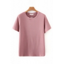 Leisure Womens Short Sleeve Crew Neck Knitted Solid Color Loose Tee Top