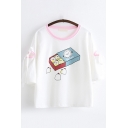 Casual Three-Quarter Sleeve Round Neck Cartoon Patterned Bow Tie Contrast Piped Relaxed T Shirt