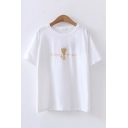 Simple Summer Short Sleeve Round Neck Cat Letter Graphic Embroidered Relaxed T-Shirt