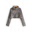 Popular Womens Long Sleeve Cowl Neck Knitted Relaxed Crop T Shirt in Gray