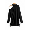 Womens Stylish Solid Color Long Sleeve Cold Shoulder Drawstring Sides Mid A-Line Dress in Black