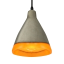 Cement Style Frosted Glass Single Light Pendant Light in Grey Finish