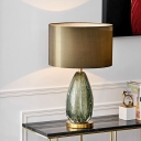 1 Bulb Cylinder Task Lighting Contemporary Fabric Night Table Lamp in Green for Bedside