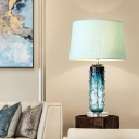 1 Head Bedside Table Light Modernist Blue Nightstand Lamp with Barrel Fabric Shade