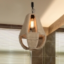 Farmhouse Pear Shape Hanging Lighting 1-Head Rope Ceiling Pendant Lamp in Beige for Restaurant