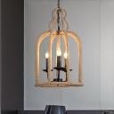 Rope Bird Cage Ceiling Chandelier Vintage 3-Light Coffee House Suspension Lamp in Beige