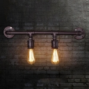 Linear Pipe Bar Sconce Lighting Rustic Iron 2/4 Lights Black Finish Wall-Mount Lamp