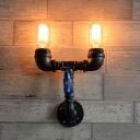 Antiqued Pipe Sconce Light Fixture 2-Bulb Metal Wall Mounted Lamp in Black with Blue Water Tap Deco