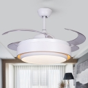 White Round Ceiling Fan Lamp Contemporary Acrylic LED 42