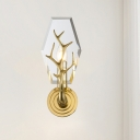 Crystal Hexagon Panel Wall Light Fixture Contemporary 1-Head Gold Wall Sconce Lamp with Antler Deco