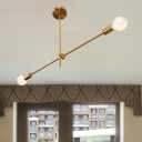 Linear Metallic Pendant Simple 2 Heads Brass Finish Hanging Chandelier for Coffee House