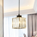 Modernist Cube Pendant Light Fixture 1 Head Dining Room Hanging Ceiling Lamp in Black