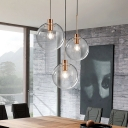 Clear Glass Round Multi Light Pendant Simple 3 Lights Hanging Ceiling Lamp in Rose Gold