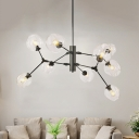 Contemporary Ball Hanging Light Kit Clear Dimpled Glass 9 Bulbs Living Room Chandelier in Black with Branch Design