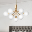 Milky Glass Molecular Pendant Lighting Modernism 9 Lights Hanging Chandelier in Brass