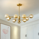 Spherical Clear Glass Hanging Lighting Modern 9-Bulb Brass Finish Sputnik Chandelier Pendant Lamp
