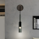 Black Glass Tube Wall Sconce Light Minimalist 1 Head Wall Mount Lamp Fixture with Cord