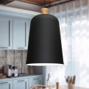 1-Head Dining Room Pendant Nordic Style Black/Grey/Pink Ceiling Hang Fixture with Bell Aluminum Shade