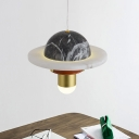 Airship Bedside Pendant Lighting Marble LED Contemporary Hanging Ceiling Lamp in Black
