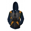 Cool Fashion Long Sleeve Drawstring Zipper Front Geo Printed Color Block Loose Hoodie in Navy