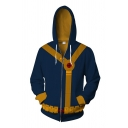 Fashionable Long Sleeve Zipper Front Tape 3D Printed Cosplay Costume Relaxed Hoodie in Navy