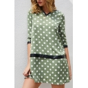 Leisure Fashion Girls Three-Quarter Sleeves V-Neck Polka Dot Printed Contrast Piped Mini Swing Dress