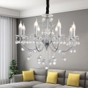 Contemporary Candle Chandelier Lamp with Clear Crystal Ball 8 Lights Metal Silver Pendant Light