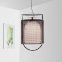 Cylinder Bedroom Pendant Lamp Black Iron Mesh 1 Light Suspension Light with Inner Oval Glass Shade