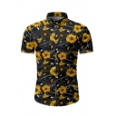 Popular Mens Short Sleeve Lapel Collar Button Down All Over Sunflower Printed Slim Fit Shirt in Black