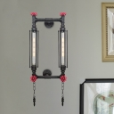 Rectangle Frame Corridor Wall-Mount Light Vintage Iron 2 Heads Black/Copper Finish Sconce Lamp