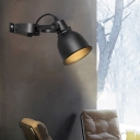 1-Head Adjustable Sconce Light Farmhouse Restaurant Wall Mount Lamp with Dome Iron Shade in Black