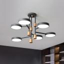 Metal Round Semi Flush Mount Light Modern Macaron 6 Lights Grey/Green/White Finish LED Flush Ceiling Lamp for Living Room
