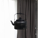 1-Light Iron Suspension Light Industrial Black/Gold/Matte Black Teapot Restaurant Hanging Lamp Kit with Chain