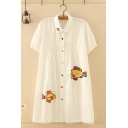 Fashionable Womens Short Sleeve Lapel Collar Button Down Fish Embroidery Pleated Longline Oversize Shirt