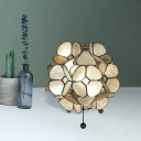 Blossom Bedside Table Lamp Acrylic LED Modernism Desk Lighting in Gold with Black Iron Tripod