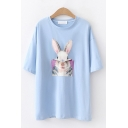 Korean Girls Short Sleeve Round Neck Rabbit Printed Relaxed Fit Tee Top