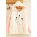 Fancy Girls Long Sleeve Drawstring Cartoon Printed Color Block Pouch Pocket Relaxed Hoodie