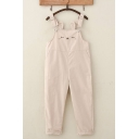 Cute Girls Sleeveless Rabbit Patterned Ankle Rolled Cuffs Relaxed Suspender Pants