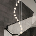 Minimalist Round/Square Cluster Pendant White Glass 12 Bulbs Stair Suspension Lighting Fixture