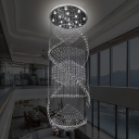 Contemporary 13 Heads Cluster Pendant Silver Cascading LED Hanging Ceiling Light with Clear Crystal Shade