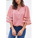 Classic Cozy Pink Bell Sleeve Hollow Out Stripe Print Loose Fit Shirt for Ladies