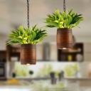 Barrel Restaurant Pendant Lighting Industrial Wooden 1 Bulb Brown Plant Hanging Light Fixture